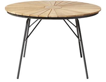 Cinas teaktræ rundt havebord på Ø 110 cm med aluminum ben