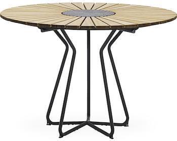 Circle stålgråt havebord med bordplade i lakeret bambus