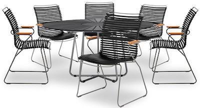 Circle vedligeholdelsesfrit havesæt med rundt bord og 6 plast stole