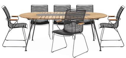Eclipse havesæt med ovalt havebord i bambus og 6 stole i plast lameller