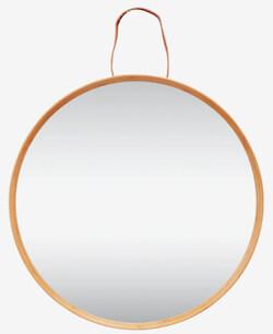 Hübsch rundt spejl i træramme med flot læderrem