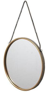 Illumi spejl i antik look udført i messing og med kædeophæng