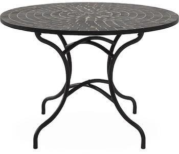 Korsika sort havebord med grå mosaik bordplade og matsort stel