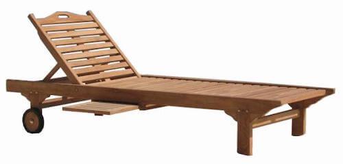 Liggestol i teaktræ med justerbar ryglæn og indbygge bakkebord
