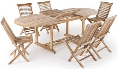 Malaga Køln med ovalt udtræksbord i træ og 6 foldestole