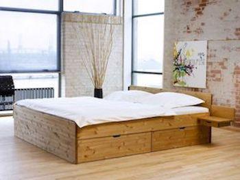 Messina hvid seng med opbevaring i olieret fyr og 4 store skuffer