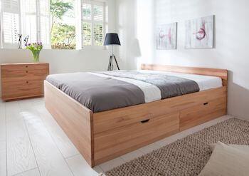 Messina kernebøg seng med opbevaring i flot funktionelt design