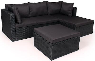 Milo loungesæt med chaiselong i polyrattan flet og glas bord
