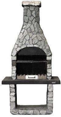 Mustang havepejs med grill i flot dekorativt stone look