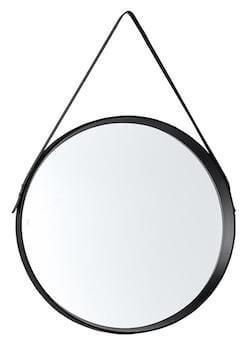 Noma rundt spejl med rem i sort ramme af plast