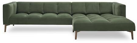 Orto mørkegrøn velour sofa med chaiselong