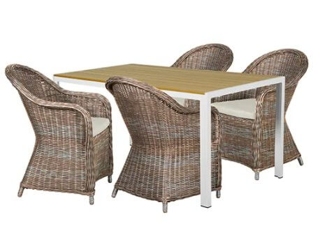 Philina M havemøbelsæt inkl. 4 stole bord i nonwood og 4 hynder