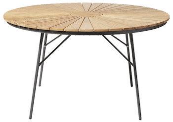 Rørvig træ foldbar havebord Ø110 med antracit aluminiumsben