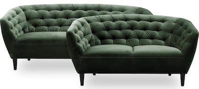 Ria 2 + 3 sofasæt i grøn velour betræk og ben i sort lakeret gummitræ