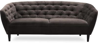 Ria klassisk 3 personers velour sofa med indsyninger og gummitræ ben