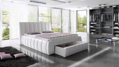 Siena hvid seng i flot design med en stor opbevaringsskuffe