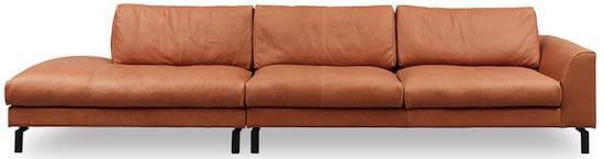 Soul day luksus læder cognac brun modulsofa og sorte metalben