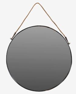 Trademark living stort rundt spejl med rem udført i jernstel
