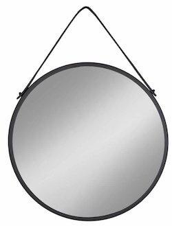Trapani billigt sort rundt spejl med rem og stål ramme