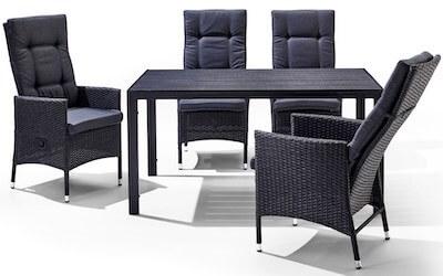 Verneda havemøbelsæt med bord i nonwood og 4 høje polyrattan stole