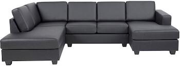 Andreas U lædersofa polstret med PU skum der giver medium blød komfort