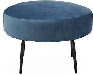 Bern sofapuf med velour og ben i sortlakeret metal
