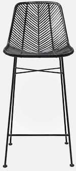 Bloomingville Indus barstol med flot sort rattan og metal ben