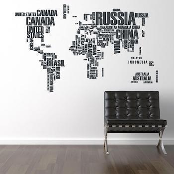 Bogstav verdenskort med navne i moderne design