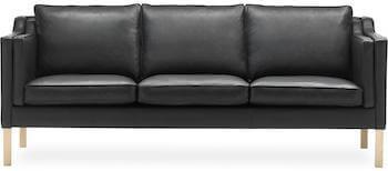 DC 3600 3 personers læder sofa med spaltet læder på bagsiden