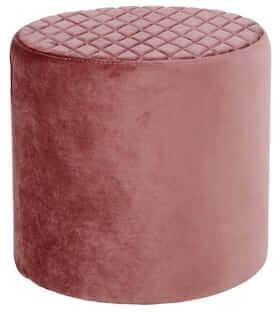 Ejby prisvenlig puf i rosa velour betræk