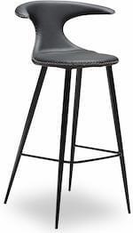 Flaire counter fed stol med lædersæde og runde fodstøtte ben i metal