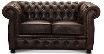 HAGA liverpool luksus læder sofa i brun læder