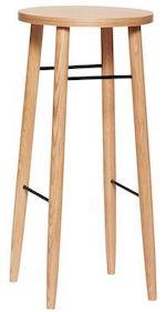Hübsch barstol taburet i lys egetræ og sort metal