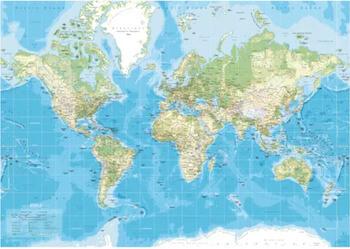 Incado lærredstryk verdenskort med navne