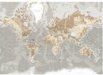 Lærredstryk verdenskort i grå nuancer