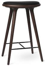 Mater håndlavet barstol med sæde i italiensk læder og hårdt bejdset træ