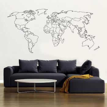 Optaget verdenskort som wallsticker i flere farver