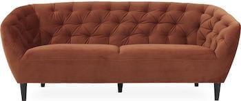 Ria 3 personers chesterfield sofa i kobberrødt velour stof