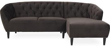 Ria chesterfield sofa i mørkebrun velour med chaiselong