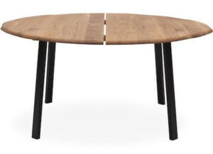 Rundt spisebord med udtræk fremstillet i massiv natur olieret egetræ