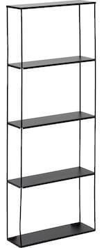 Simply vægreol i sort metal med 4 praktiske hylder
