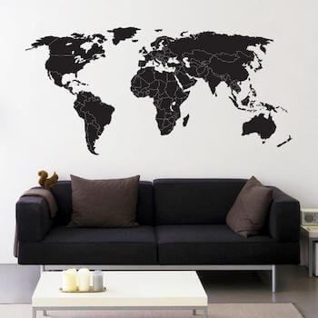 Wallsticker kort i sort med optegnet grænser