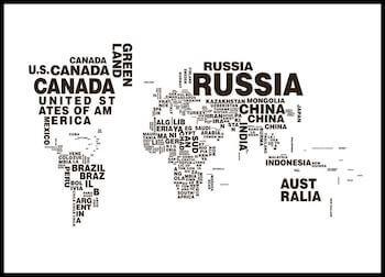 World map text kort 50 x 70 cm i sort hvid
