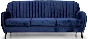 Bolivia klassisk sofa med velour med sorte syninger