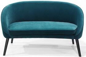 Miranda flot 2 personers petroleumsfarvet velour sofa