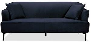 Monica 3 personers velour sofa med krom ben i blå farve