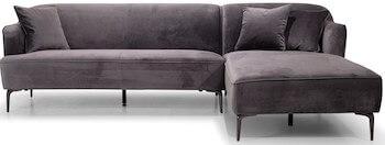 Monica velour chaiselong sofa i flot antracit farve