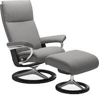 Aura Stressless grå lænestol med stel i sortbejdset bøg