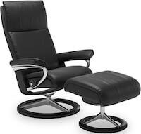 Aura sort læder lænestol med trinløst glid