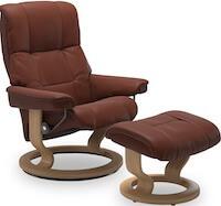 Mayfair brun lænestol med egebejdset stel